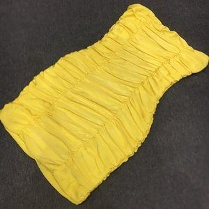 Yellow ruched sexy mini tube dress